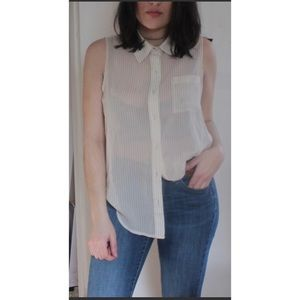 Tops - Cream Pin-Stripe Collared Blouse